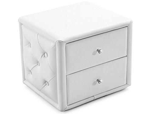 Nachttisch Weiß Modern Flemming mit 2 Schubladen Nachtkonsole Nachtschrank