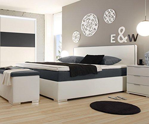 polsterbett norwich weiss 180x200 mit matratze topper. Black Bedroom Furniture Sets. Home Design Ideas