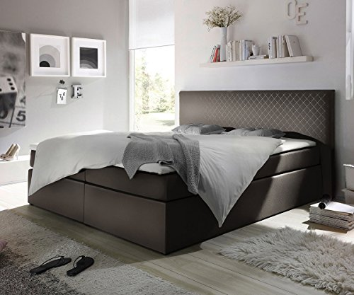 delife polsterbett stafford grau 180x200 kopfteil abgesteppt boxspringbett. Black Bedroom Furniture Sets. Home Design Ideas