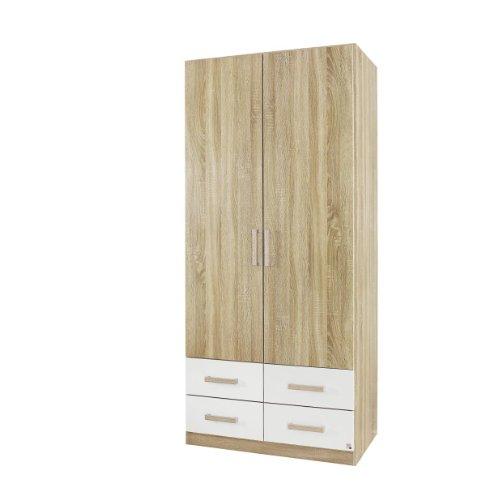 rauch kleiderschrank mit schubladen 2 t rig eiche sonoma schubladen alpinwei bxhxt 91x197x54. Black Bedroom Furniture Sets. Home Design Ideas