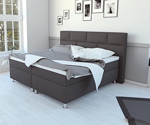 sam design boxspringbett in grau stoffbezug box mit holzrahmen und bonellfederkern 7 zonen. Black Bedroom Furniture Sets. Home Design Ideas