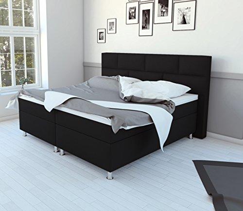SAM® Design Boxspringbett in schwarz, Kunstlederbezug, Box mit Bonellfederkern, 7-Zonen Taschenfederkernmatratze, Viscoschaum-Topper, FSC® 100 % zertifiziert, 140 x 200