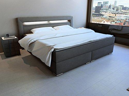 SAM® Design Boxspringbett mit Neo Stoff-Bezug in anthrazit, LED-Beleuchtung, Bonellfederkern-Matratze, Box mit Holzrahmen und Nosag-Unterfederung, hochwertigen chromfarbenen-Füßen, optimale Einstiegshöhe, 180 x 200 cm
