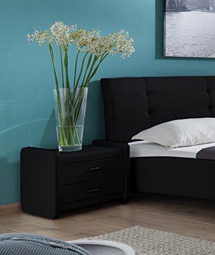 SAM Design Nachtkommode 1001 Konsole in schwarz mit zwei Schubladen, Nachttisch mit pflegeleichter Oberfläche