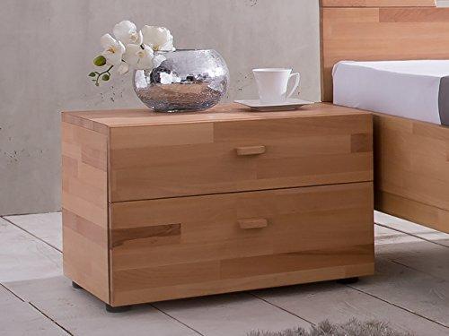 SAM® Nachtkommode Cubi 1 aus massiver, brauner Kernbuche, Nako mit ausreichend Verstaumöglichkeiten, Nachttisch in modernem Design