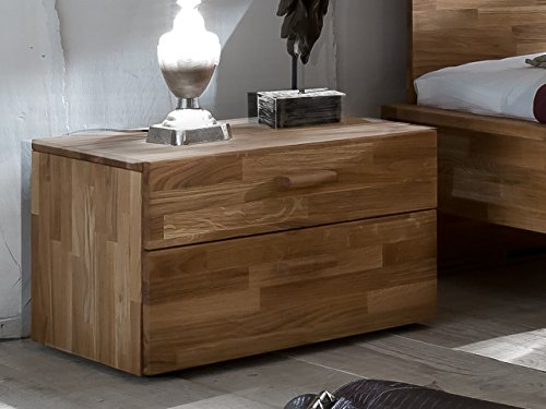 m bel24 boxspringbett sam nachtkommode cubi 1 aus massiver brauner wildeiche nako mit. Black Bedroom Furniture Sets. Home Design Ideas