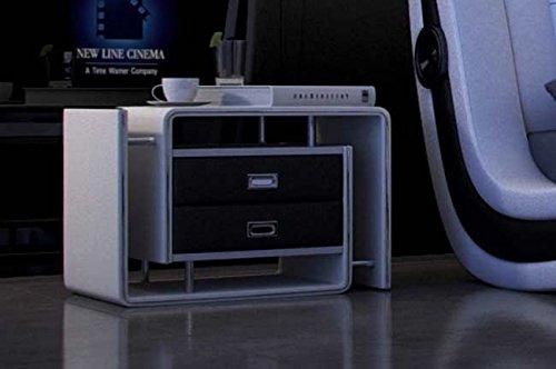 SAM® Nachtkommode In 03 in weiß/schwarz, links, Nachttisch mit futuristischem Design, Nako mit genügend Stauraum, Nachtkonsole in liebevoller Handarbeit gefertigt