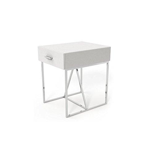 SAM Nachtkommode Jessica G07 weiß, Nachttisch aus edlem Lederimitat, Konsole in modernem Design