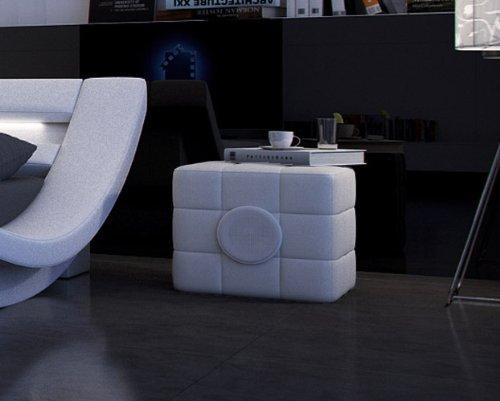 SAM Nachtkommode Swap in weiß mit integriertem Lautsprecher, Konsole komplett bezogen abgestepptes modernes Design