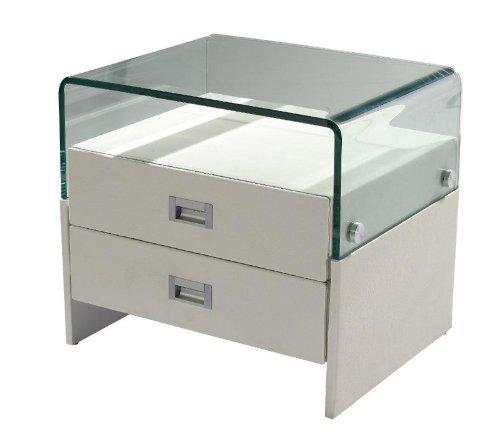 SAM Nachtkommode SAM025 in weiß, Konsole mit zwei Schubladen, großzügiger Stauraum, Nachttisch mit Glasablagefläche