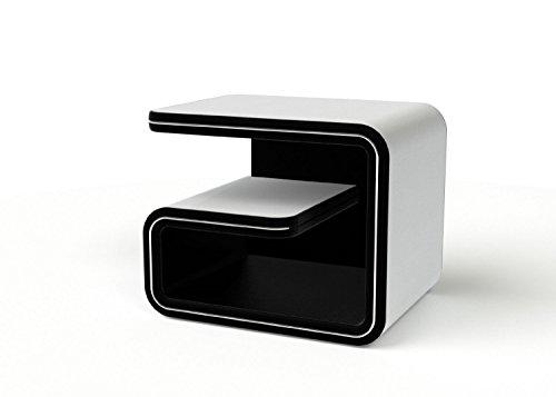 SAM® Nachtkommode links NAKO 99 in weiß - schwarz, modernes Design mit futuristischen Akzenten, edel, viel Stauraum