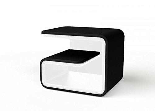 SAM® Nachtkommode schwarz-weiß linksseitig stellbar auch für Rechts erhältlich NAKO 99 modern exklusiv