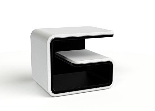 SAM Nachtkonsole 99 rechts in weiß/schwarz, auch in links erhältlich und mit allen Betten im Shop kombinierbar