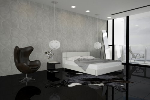 SAM® Polsterbett Bett Teneriffa in Weiß 180 x 200 cm Kopfteil im abgesteppten modernen Design Steppnaht in der Kontrastfarbe schwarz chromfarbene Füße Wasserbett geeignet