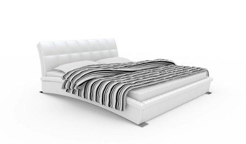 SAM Polsterbett 180x200 cm Ponte in weiß, Metallfüße geschwungene Seitenteile, abgestepptes Kopfteil, modernes Design