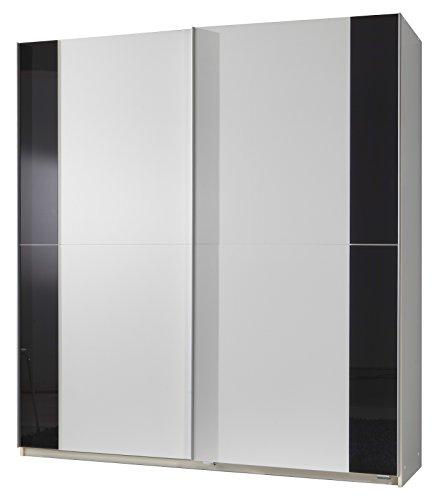 Wimex 076770 Schwebetürenschrank 135 x 198 x 64 cm, Front und Korpus alpinweiß, Absetzungen Glas grau