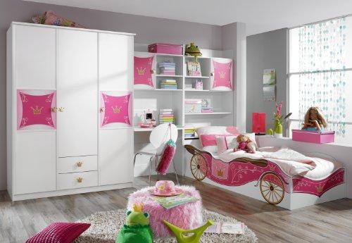 rauch Kleiderschrank mit Kronen- Motivdruck, 3-türig weiß/rosafarben