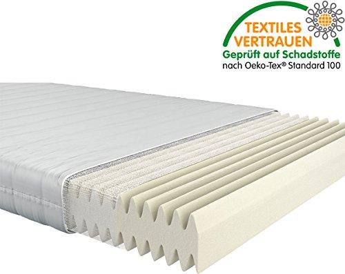 Fairmat orthopädische 7-Zonen Matratze   Komfortschaummatratze im Wellenschnitt   16cm Gesamthöhe   Härtegrad H3   Größe 90x200cm