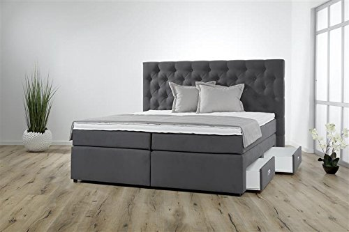 m bel24 breckle boxspringbett 200 x 200 cm lerche box mero hollanda 1000 gel topper gel. Black Bedroom Furniture Sets. Home Design Ideas