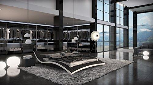 Designer Luxus Seducce Schwarz LED Beleuchtung Gelbett 200 x 220 cm Dual Designerbett Softside Komplett Set