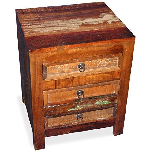 KMH Nachttisch im Shabby Chic/Vintage Style aus recyceltem Sheeshamholz gefertigt (45 x 45 cm) (#202207)