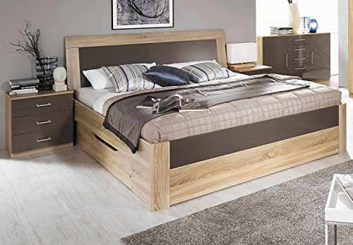 rauch bett mit 2 schubk sten eiche sonoma hochglanz lavagrau 160 x 200 cm. Black Bedroom Furniture Sets. Home Design Ideas