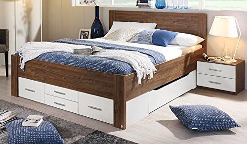 rauch bett mit 6 schubk sten eiche stirling alpinwei 140 x 200 cm schubladenbett funktionsbett. Black Bedroom Furniture Sets. Home Design Ideas