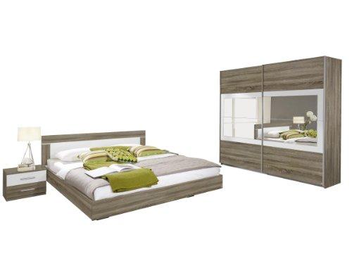 rauch schlafzimmer komplett set mit bett 180x200 schrank mit spiegel und nachttischen eiche. Black Bedroom Furniture Sets. Home Design Ideas