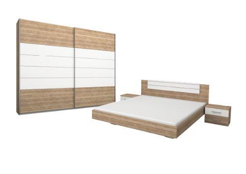 Rauch Schlafzimmer Komplett Set mit Bett 180x200, Schwebetürenschrank, Nachttischen Eiche San Remo hell, Absetzungen Alpinweiß