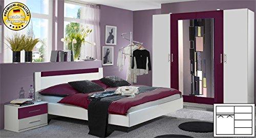 Schlafzimmer 846965 komplett 4-teilig mit Kleiderschrank weiß / brombeer
