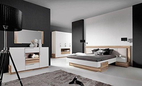 """Schlafzimmer Komplett - Set A """"Andenne"""", 5-teilig, Weiß / Walnuss"""