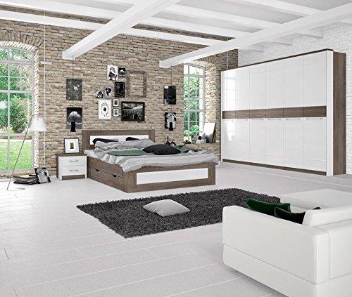 Schlafzimmer Komplett - Set I Lepa, 5-teilig, Farbe: Eiche Dunkelbraun / Weiß Hochglanz
