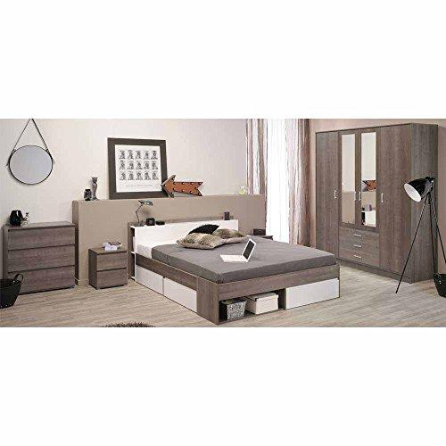 Schlafzimmer Komplettset in Eiche Silber Weiß Stauraumbett (5-teilig) Pharao24