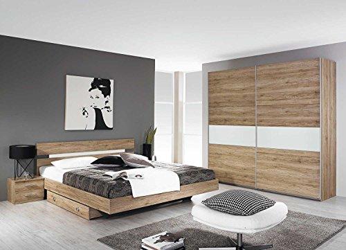 lifestyle4living Schlafzimmer, Schlafzimmermöbel, Set, Komplett, Komplettset, Schlafzimmereinrichtung, komplettangebot, Einrichtung, 3-teilig, Bett, San Remo, Rauch