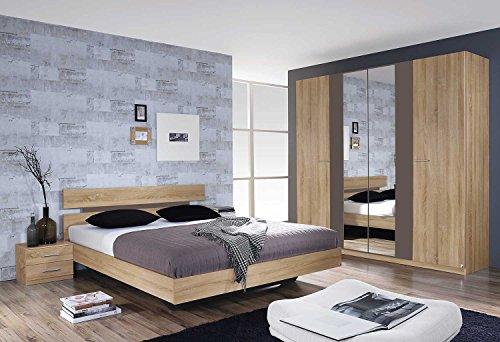 lifestyle4living Schlafzimmer, Schlafzimmermöbel, Set, Komplett, Komplettset, Schlafzimmereinrichtung, komplettangebot, Einrichtung, 3-teilig, Eiche Sonoma, Rauch