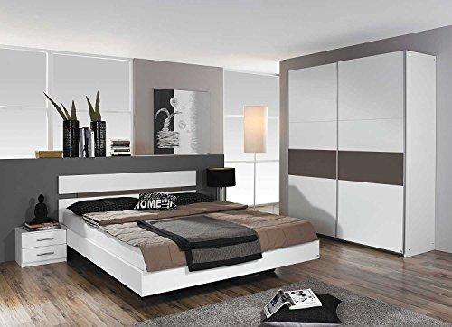 lifestyle4living Schlafzimmer, Schlafzimmermöbel, Set, Komplett, Komplettset, Schlafzimmereinrichtung, komplettangebot, Einrichtung, 3-teilig, weiß, Lava Grau, Rauch