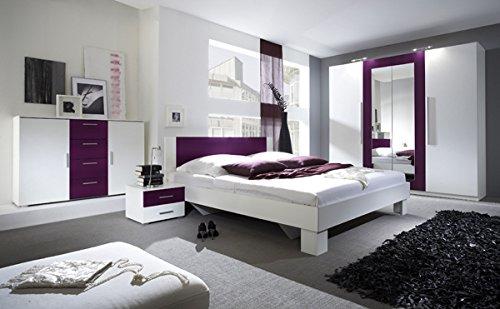 Schlafzimmer komplett 54018 4-teilig weiß / lila