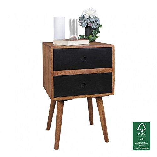 WOHNLING Retro Nachtkonsole REPA / Sheesham-Holz Nachttisch mit 2 Schubladen dunkelbraun | Design Nachtkästchen 40 x 35 x 55 cm | Kleines Nachtschränkchen