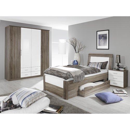 Rauch Schlafzimmer Arona 3-tlg, Eiche Havanna Nb. mit Absetzung in Hochlanz weiß