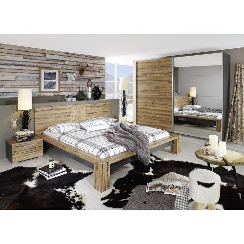 rauch Schlafzimmer-Set Davos 4-tlg., Wildeiche Nachbildung/graphit