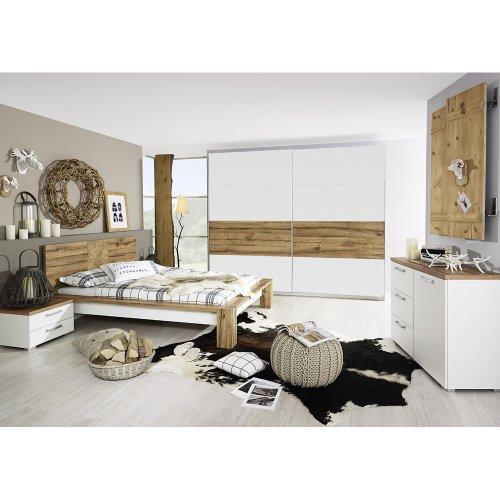 rauch Schlafzimmer-Set Davos 5-tlg., Wildeiche Nachbildung/weiß
