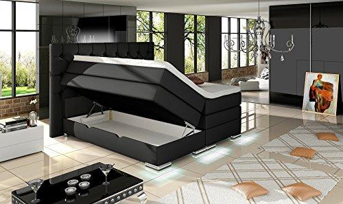 XXXL MAILAND Boxspringbett mit Bettkasten Designer Boxspring Bett Chesterfield LED CHESTERFIELD DESIGN Schwarz Größe 180_x_200_cm