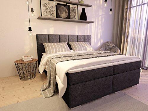 Boxspringbett ka-line® 160x200 cm Anthrazit H3 mit Stauraum Bettkasten Comfortbox Füßen Polsterbett Premium Hotelbett Bett amerikanische Doppelbett Luxus Komfort Anthrazit H3 160x200cm