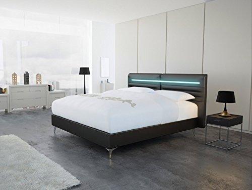 SAM® Design Boxspringbett Almeria Lima schwarz mit Bonellfederkern in Massiv-Holz-Rahmen,Chrom-Füßen und LED-Beleuchtung 180 x 200 cm