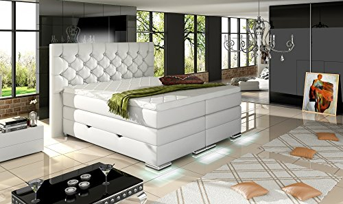XXXL MAILAND Boxspringbett mit Bettkasten Designer Boxspring Bett Chesterfield LED WEISS CHESTERFIELD DESIGN Größe 200_x_200_cm