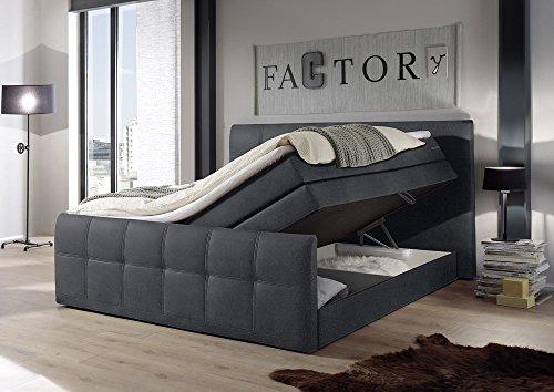 Boxspringbett 180x200 mit Bettkasten, Farbe: anthrazit, inkl Komfortschaum Topper, Matratze: 7-Zonen-Tonnentaschenfederkern Matratze, Bett von Möbel-BOXX