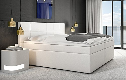 SAM LED-Boxspringbett 200x200 cm Sapri, Kunstleder weiß, Bonellfederkern-Box, 7-Zonen H3 Taschenfederkern-Matratzen, Viscoschaum-Topper