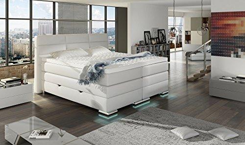 HG Royal Estates GmbH Roma Boxspringbett mit Bettkasten Designer Boxspring Bett LED Schneeweiss - 180 x 200 cm