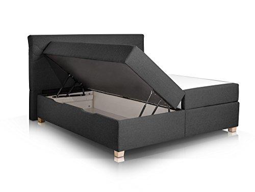 WAVE Boxspringbett mit Stoffbezug inklusive Bettkasten, 180 x 200 cm, anthrazit, Härtegrad 3