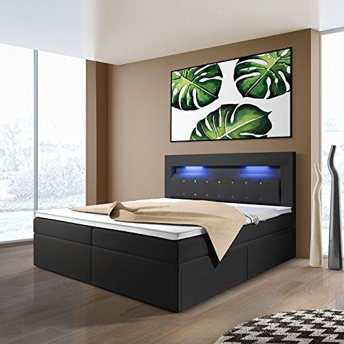 Milos - Boxspringbett mit LEDs in der Größe und Ausführung nach Wahl (180 x 200 cm, mit 2 Schubladen, Taschenfederkernmatratze und HR-Schaum-Topper)
